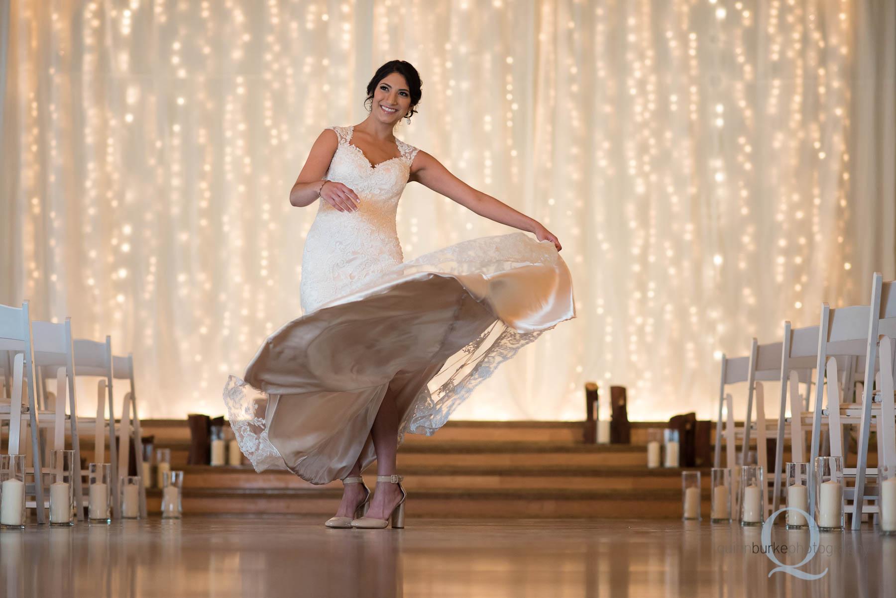 bride twirling with wedding dress at Green Villa Barn