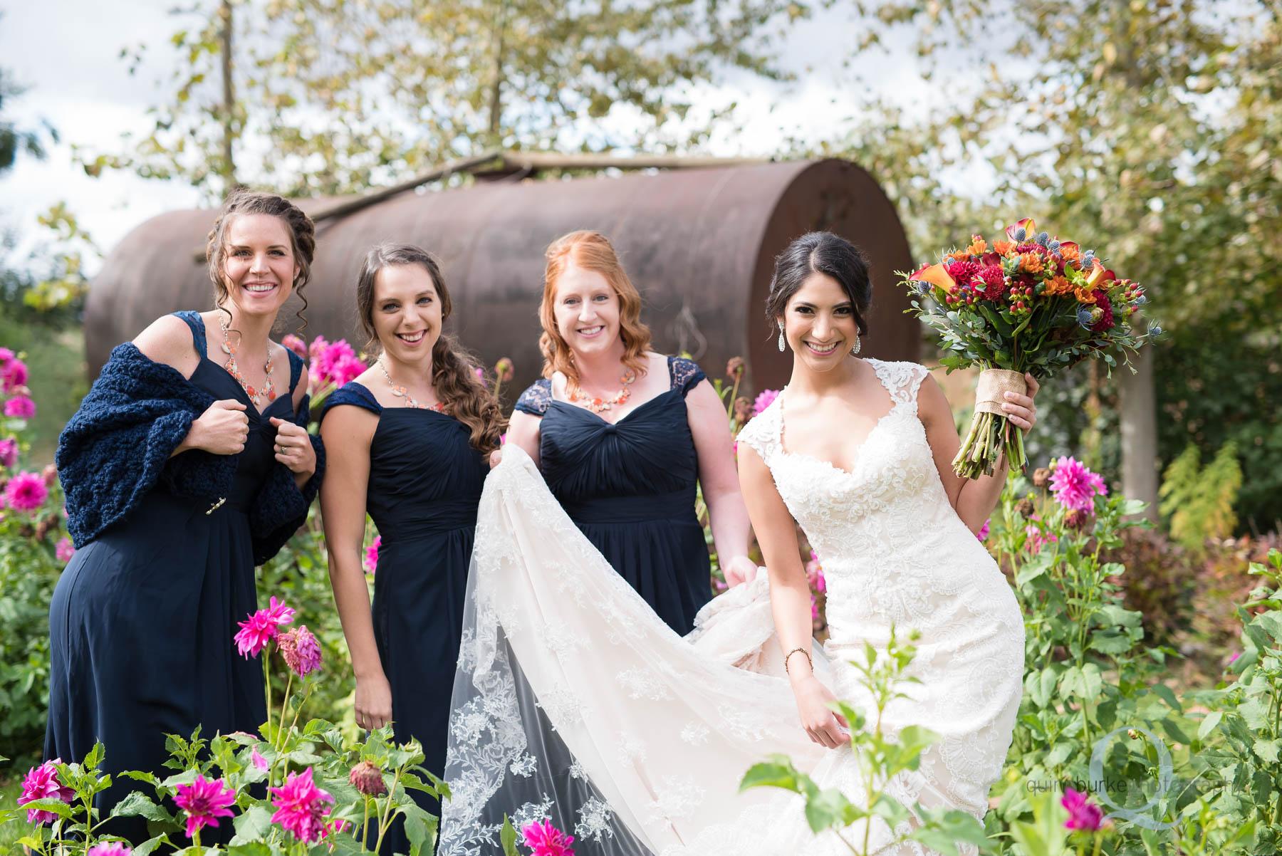 bridesmaids in garden at Green Villa Barn