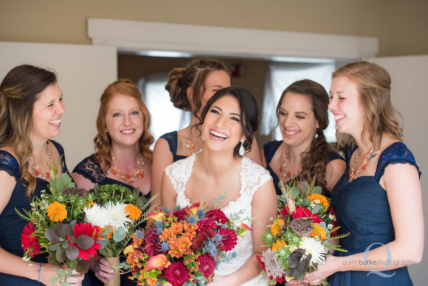 bridal party at entrance of Green Villa Barn