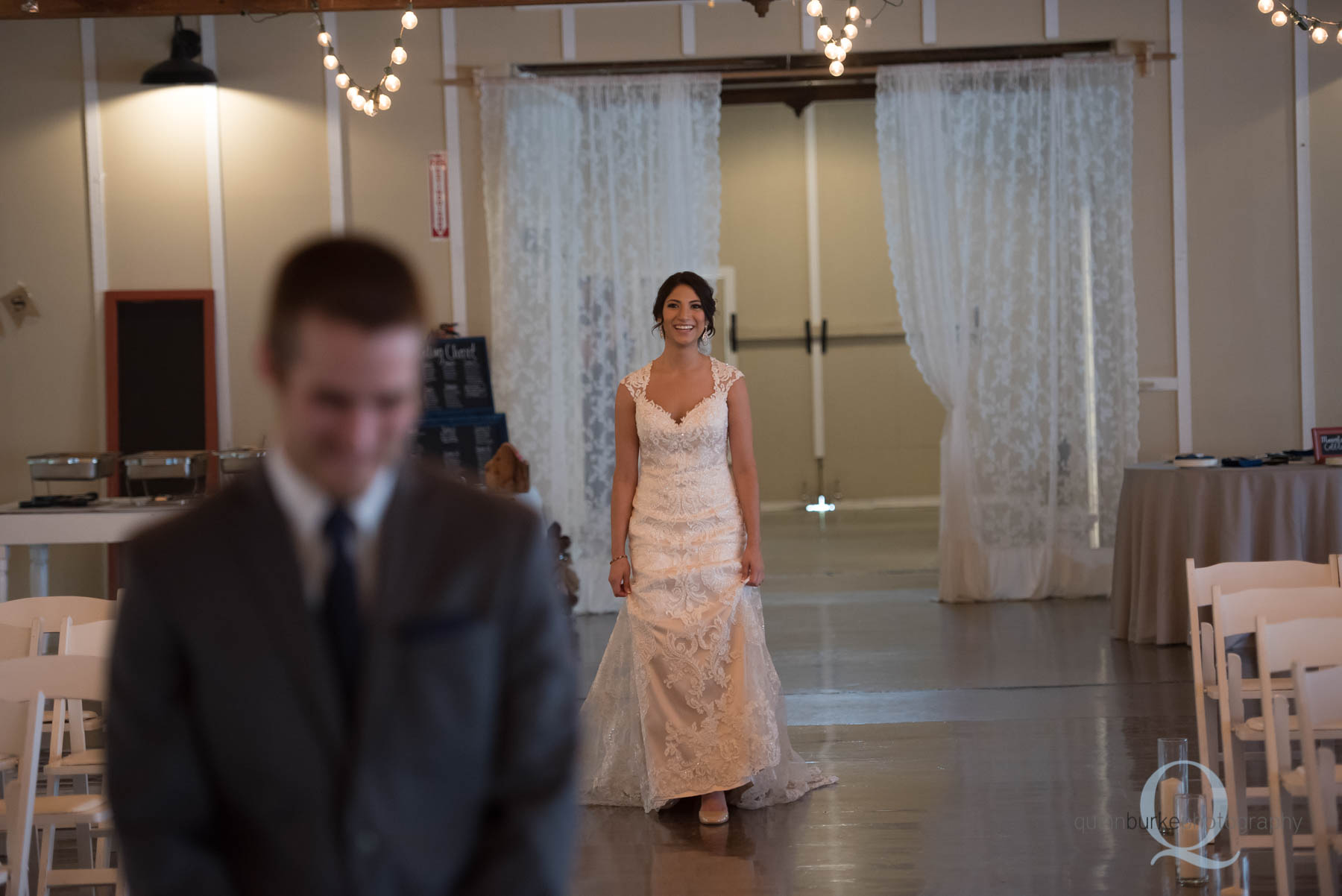 bride walking to groom for first look at Green Villa Barn