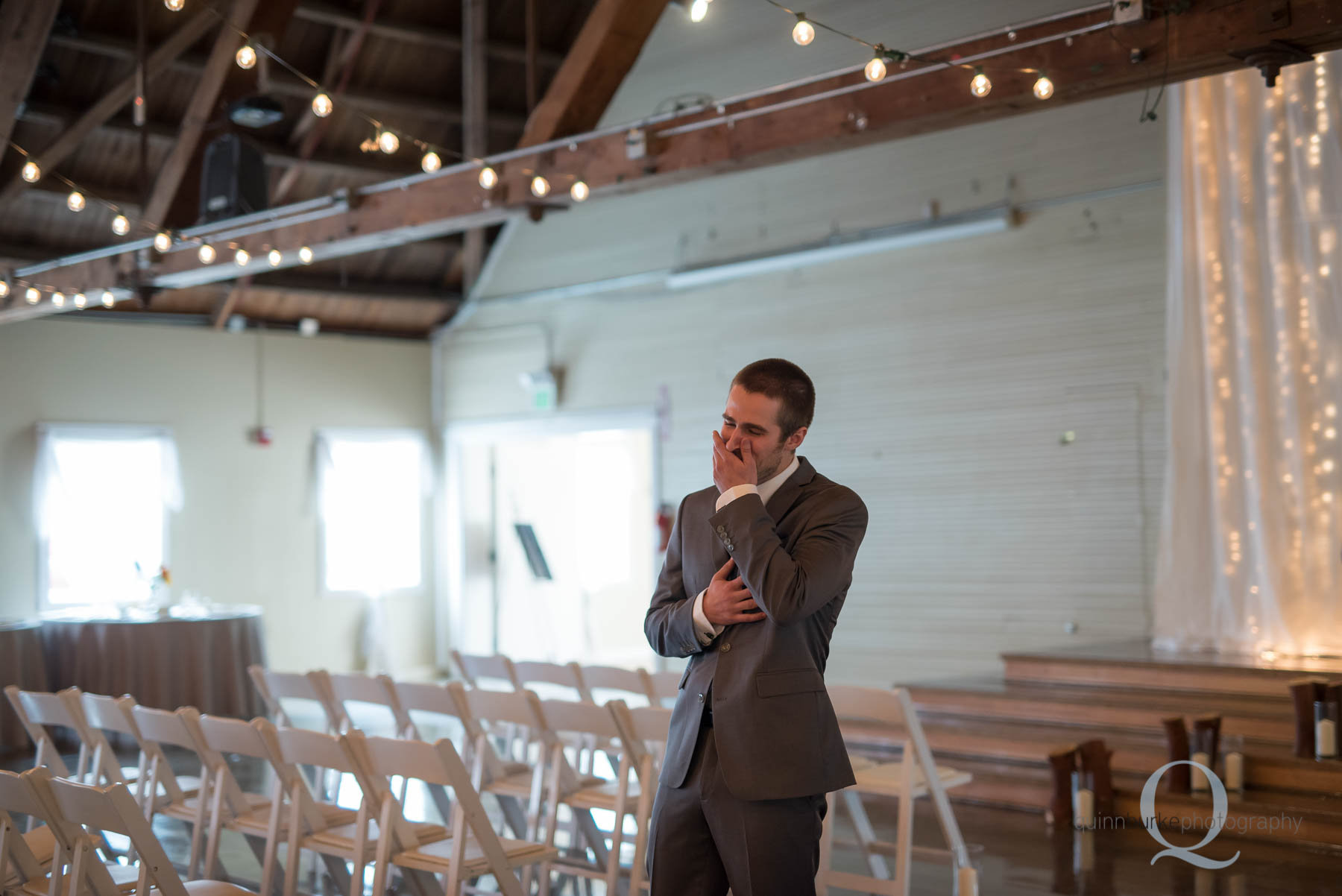groom sees bride first time at Green Villa Barn wedding