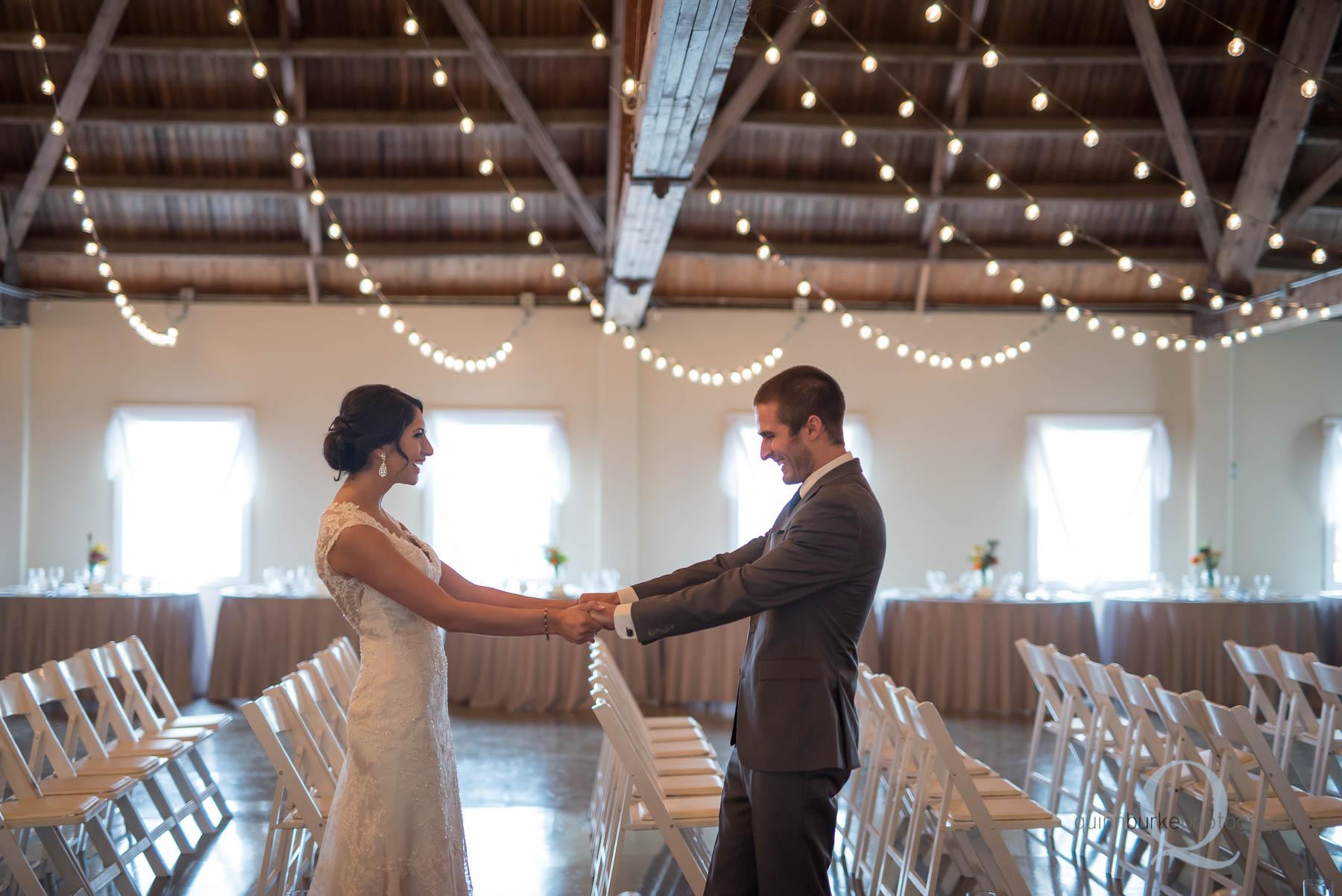 first look at Green Villa Barn wedding