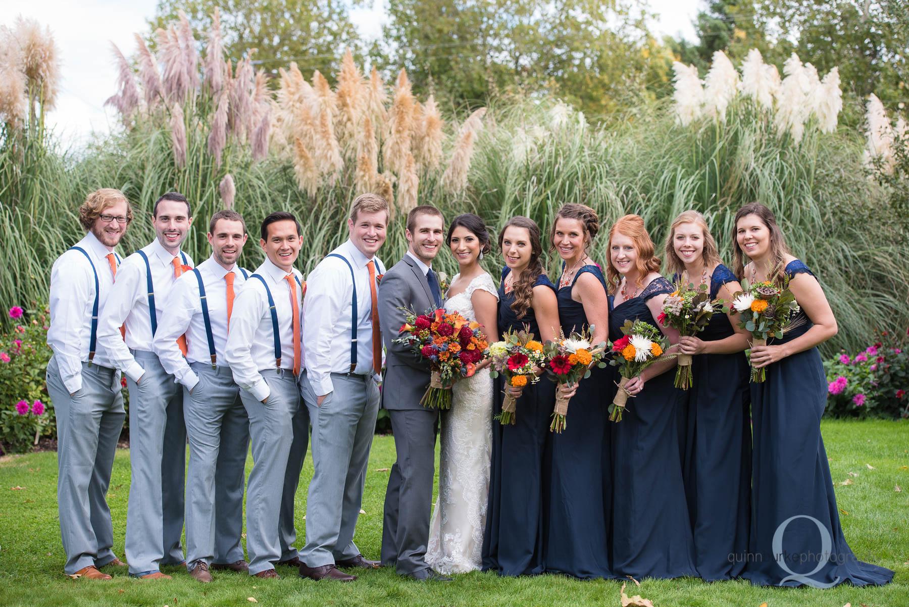 wedding party together at Green Villa Barn