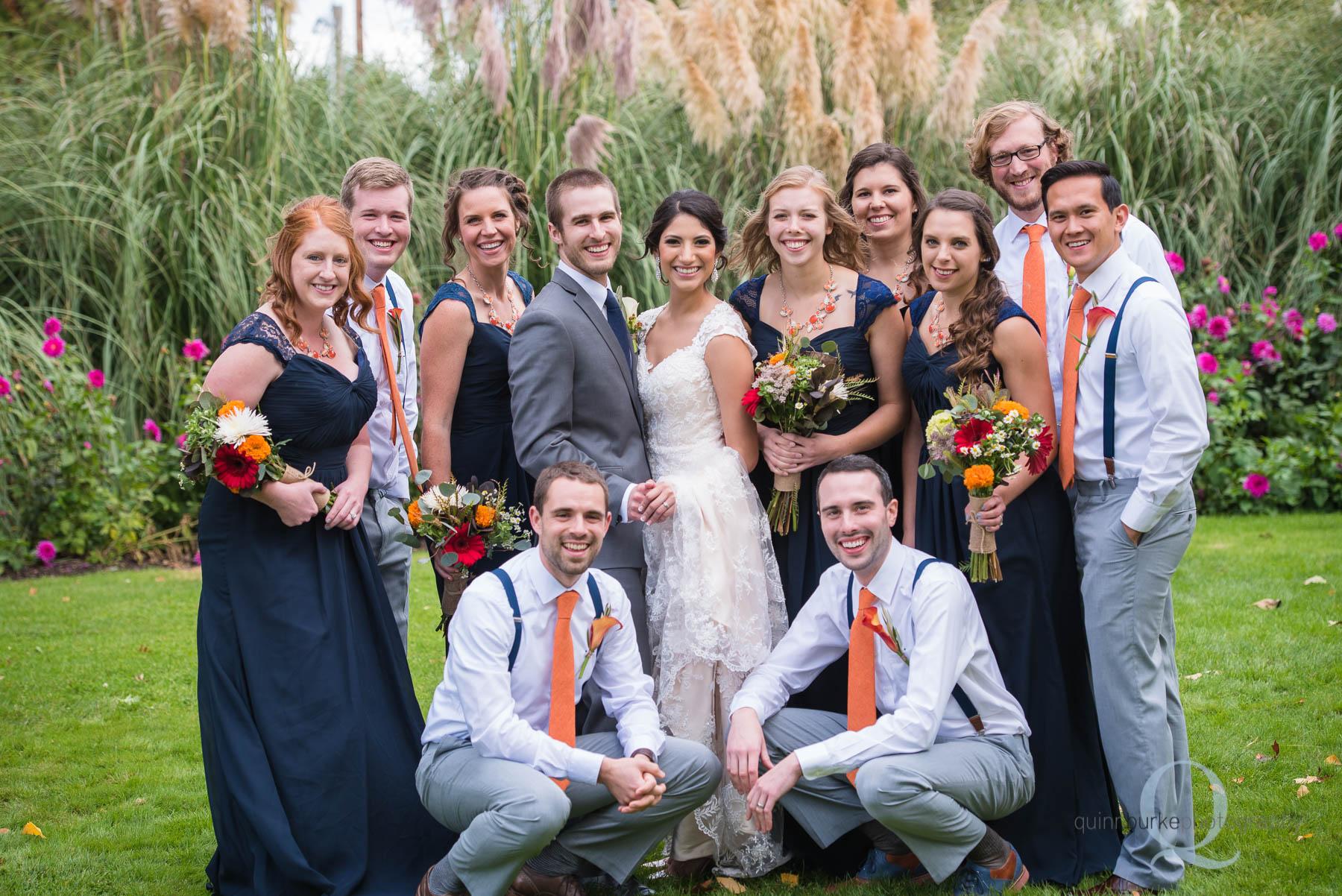 wedding party group at Green Villa Barn