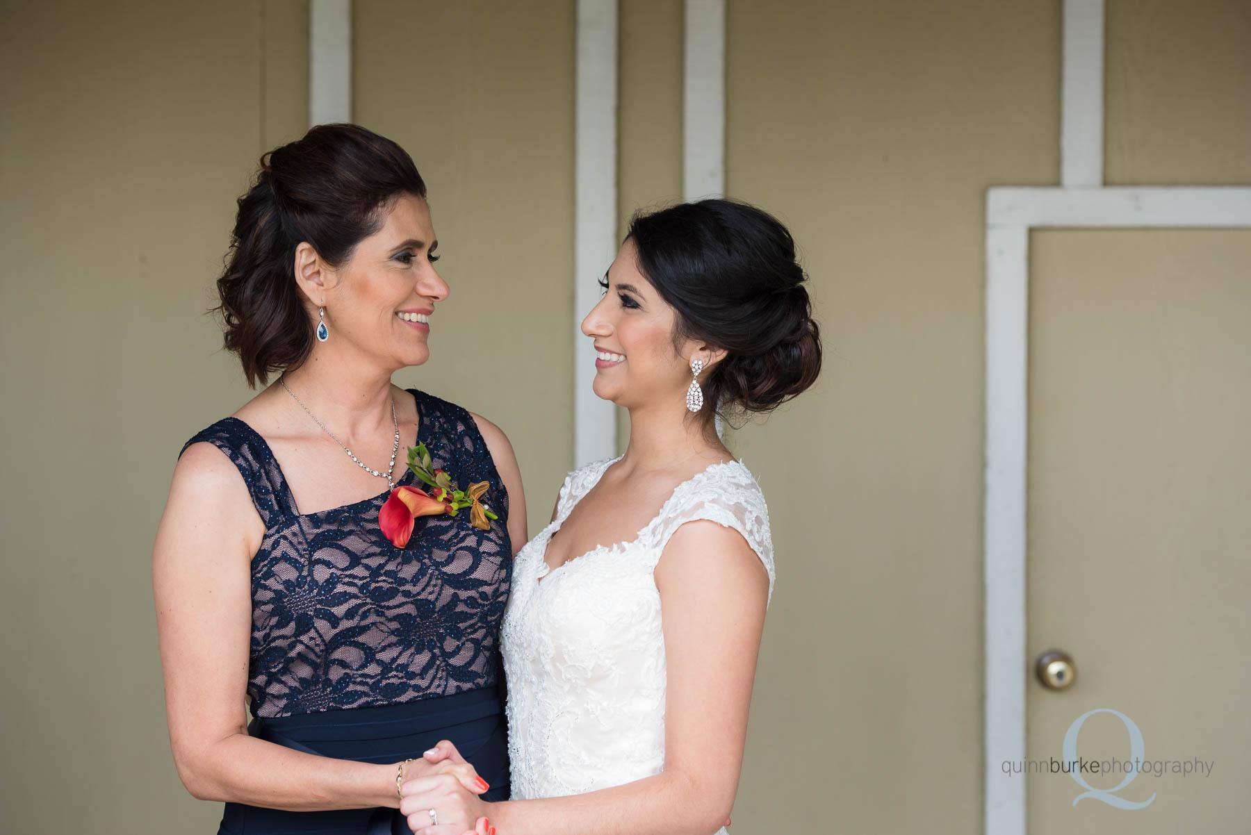 bride and mom at Green Villa Barn before wedding