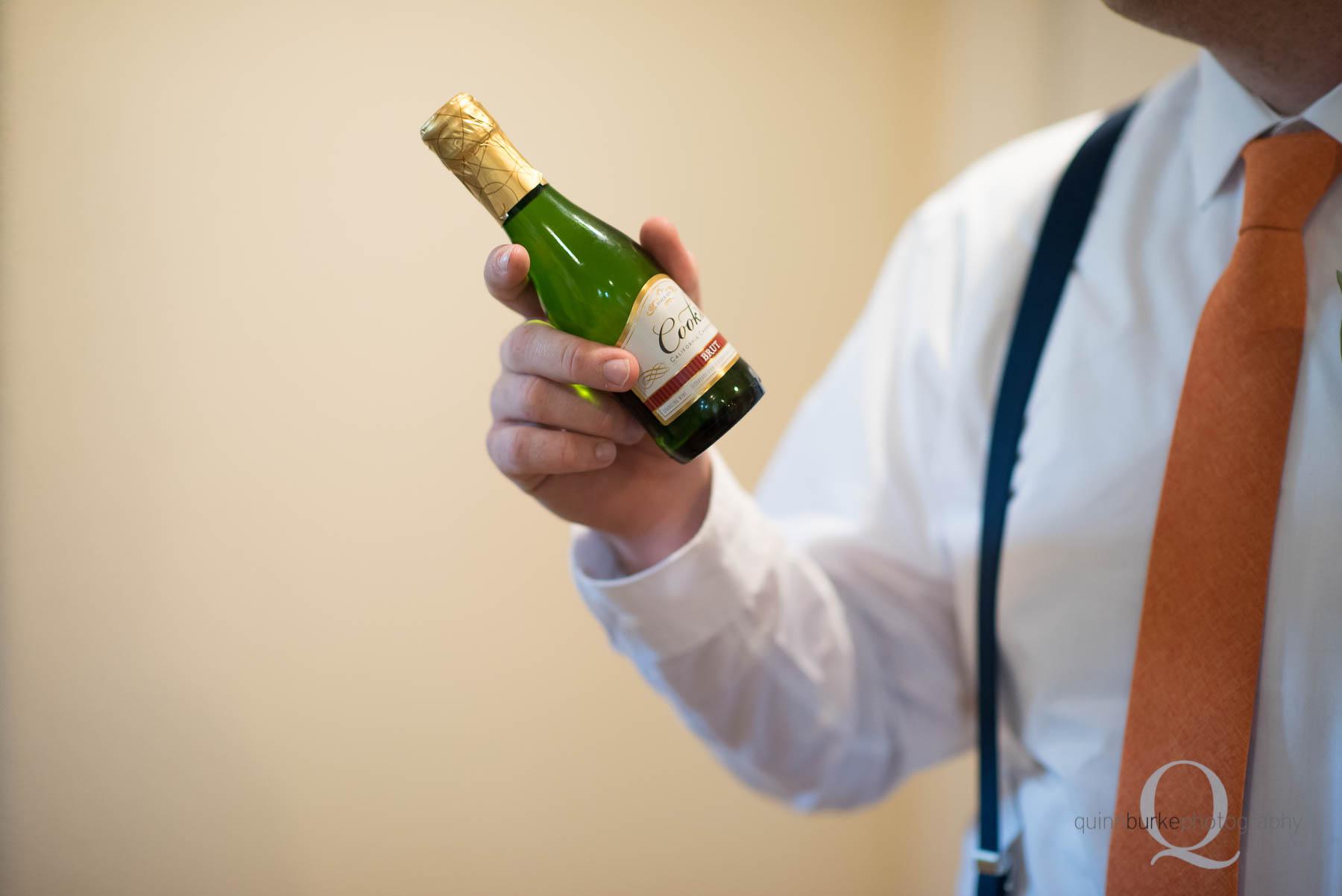 champagne toast before wedding at Green Villa Barn