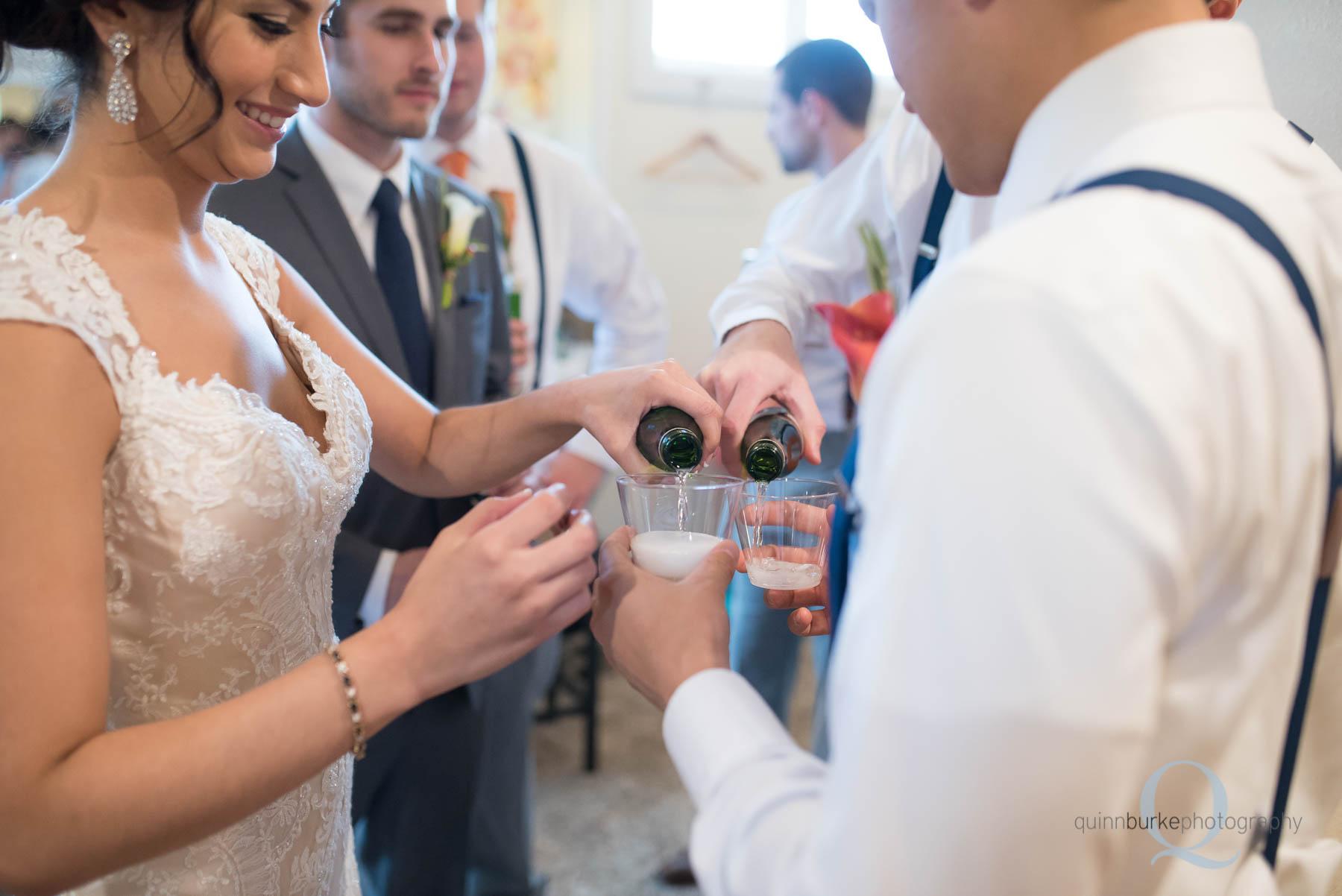 toasting before wedding at Green Villa Barn