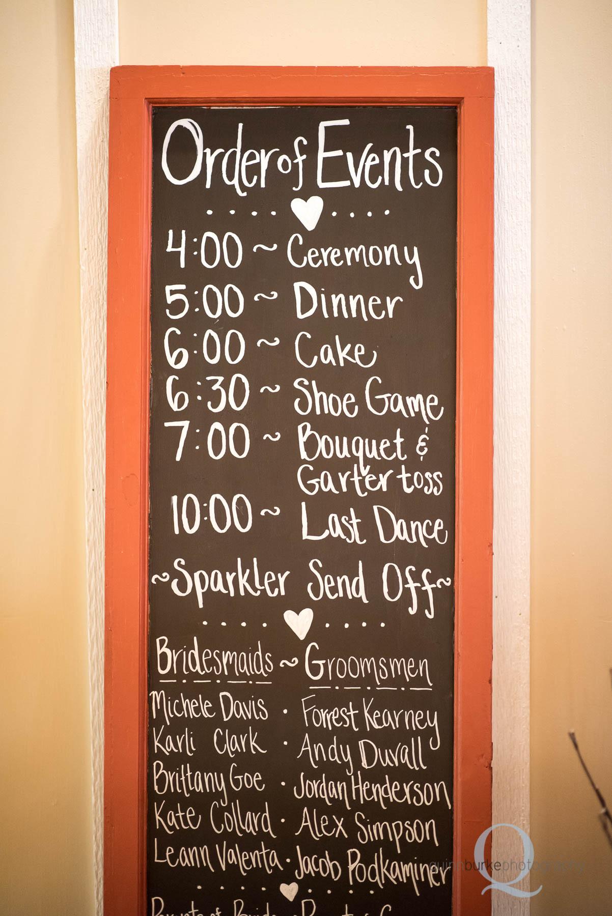 order of events wedding chalkboard sign