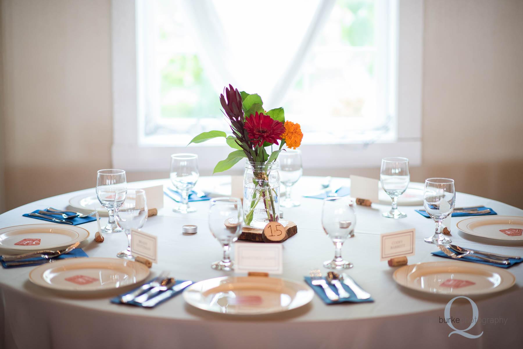 table setting at Green Villa Barn