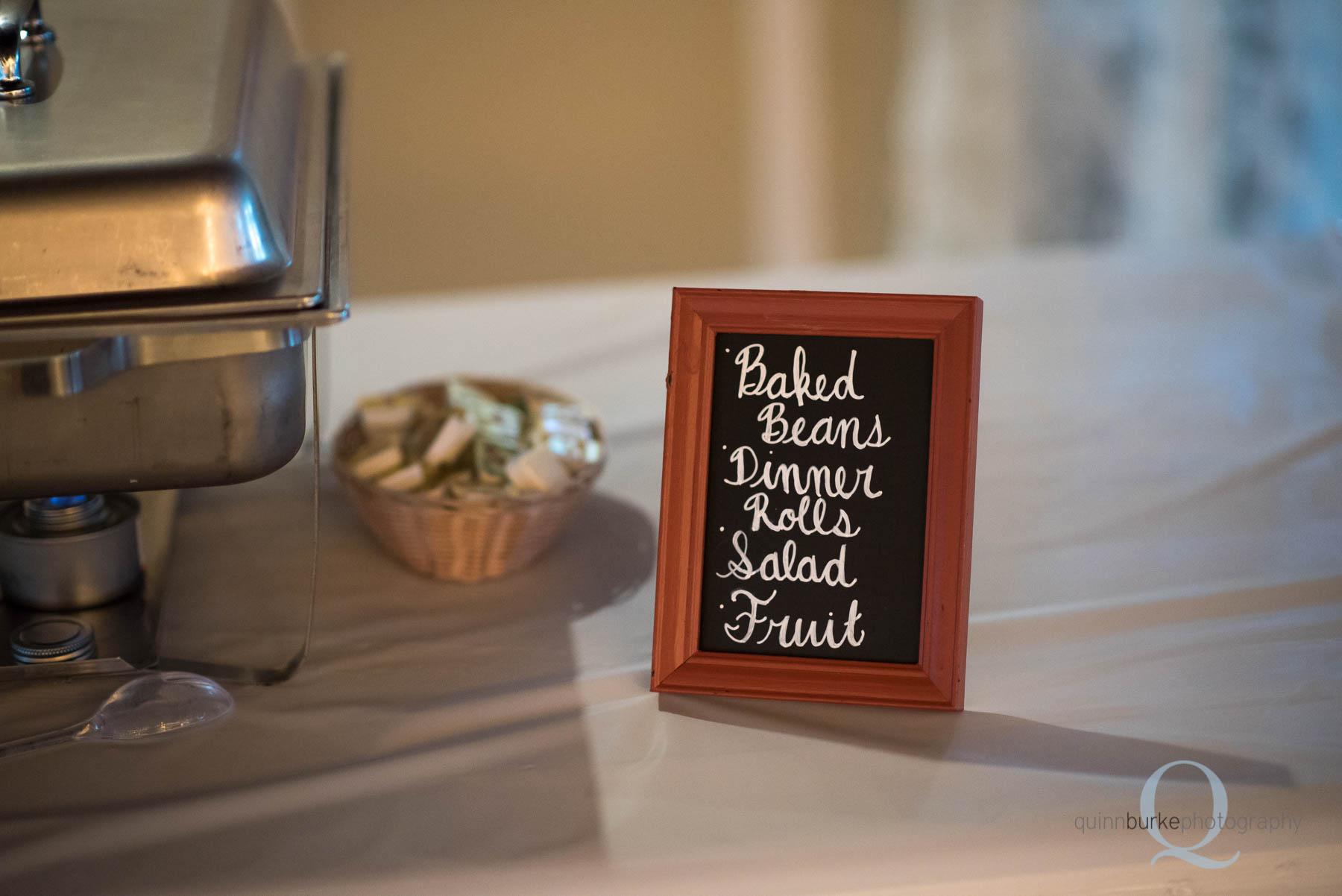 dinner reception chalkboard sign