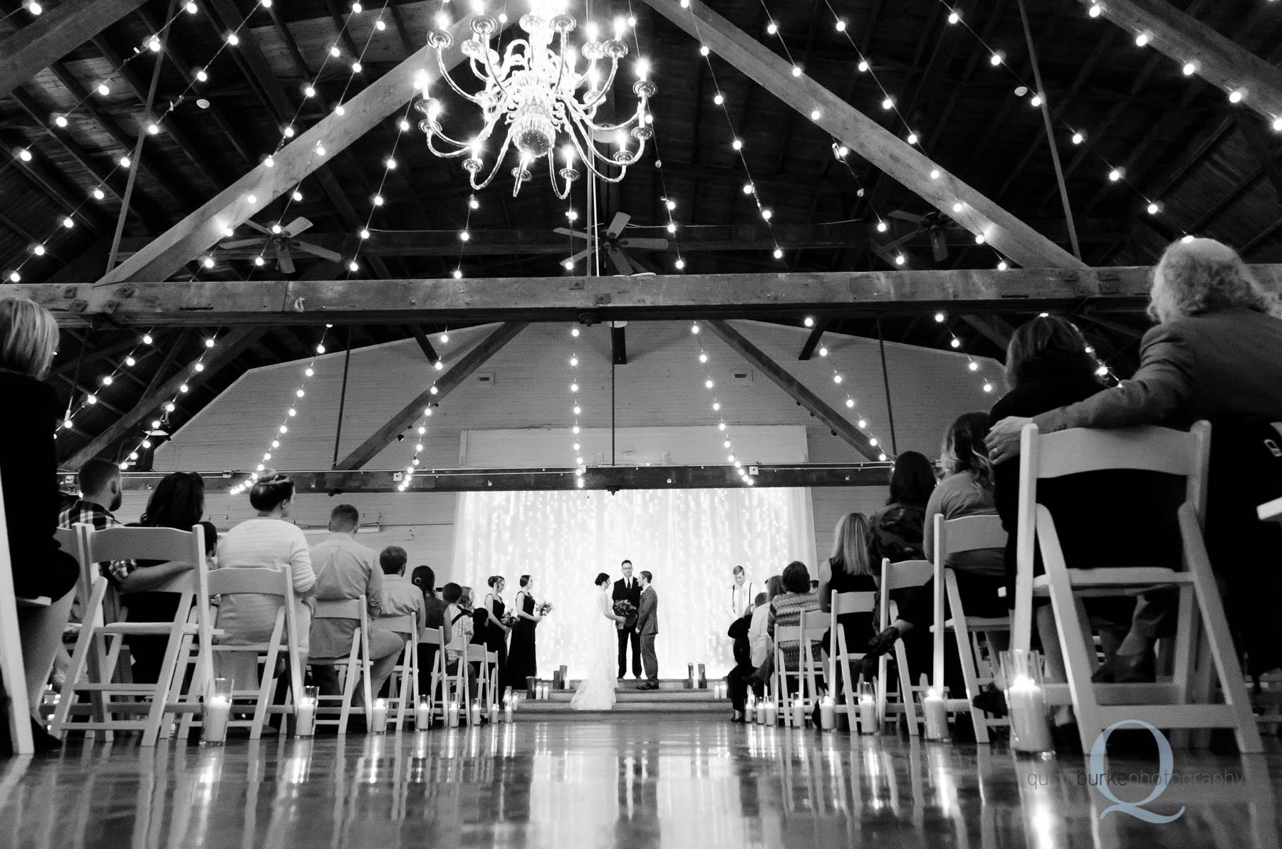 wedding ceremony indoors at Green Villa Barn