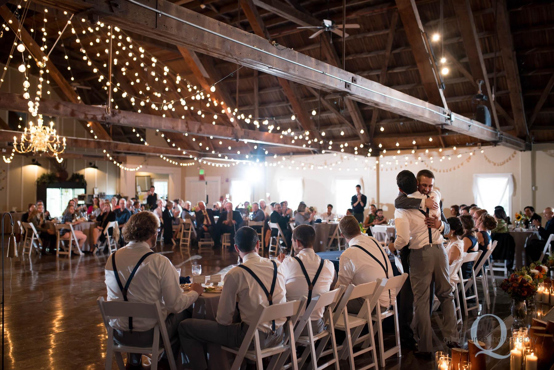toasts during reception Green Villa Barn wedding