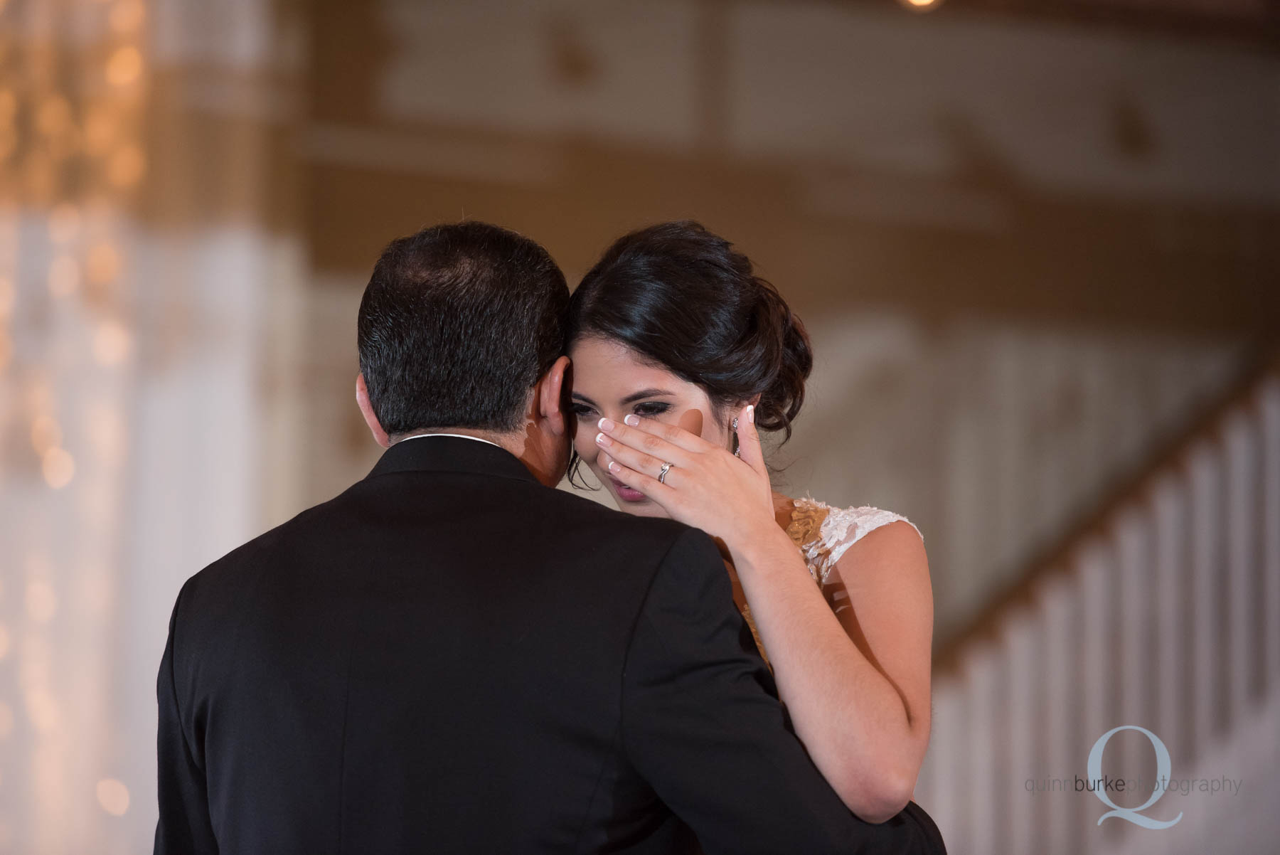 bride cries during father daughter dance at Green Villa Barn wedding