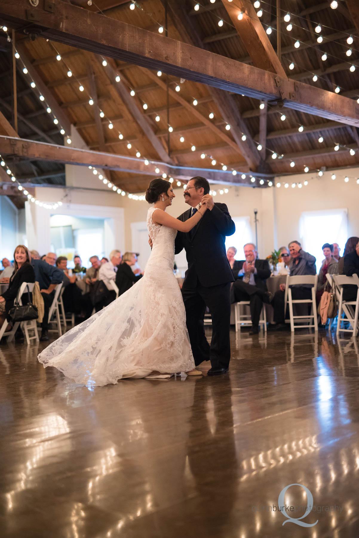 father daughter dance in barn at Green Villa Barn