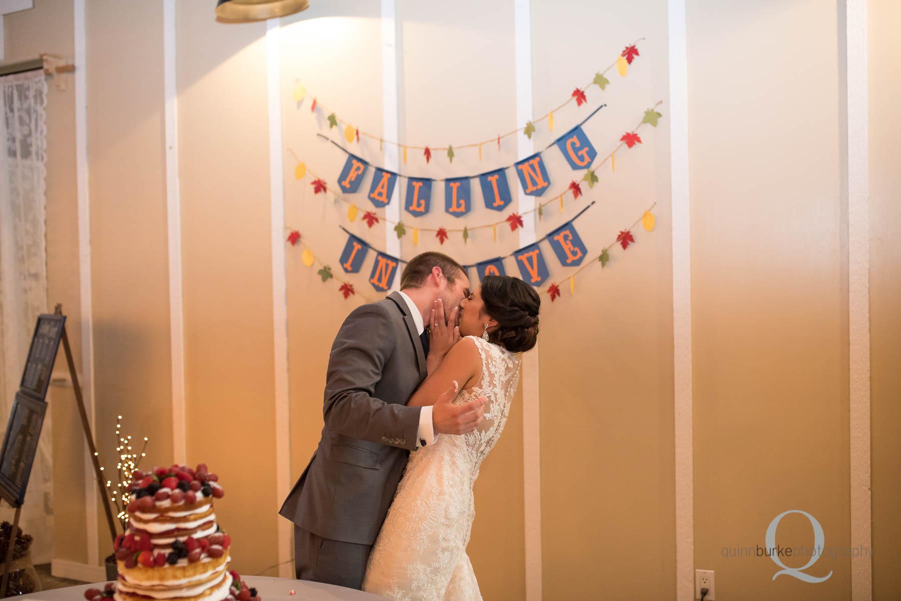 cake cutting Green Villa Barn wedding