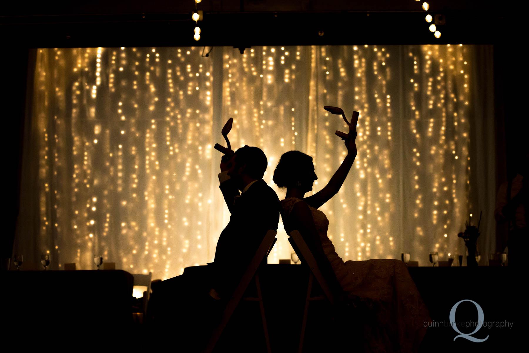 silhouette shoe game Green Villa Barn wedding reception