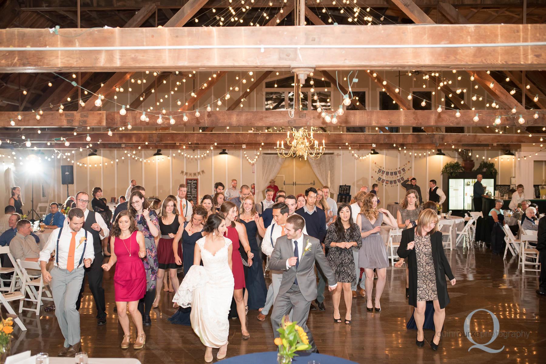 wedding reception dancing at Green Villa Barn