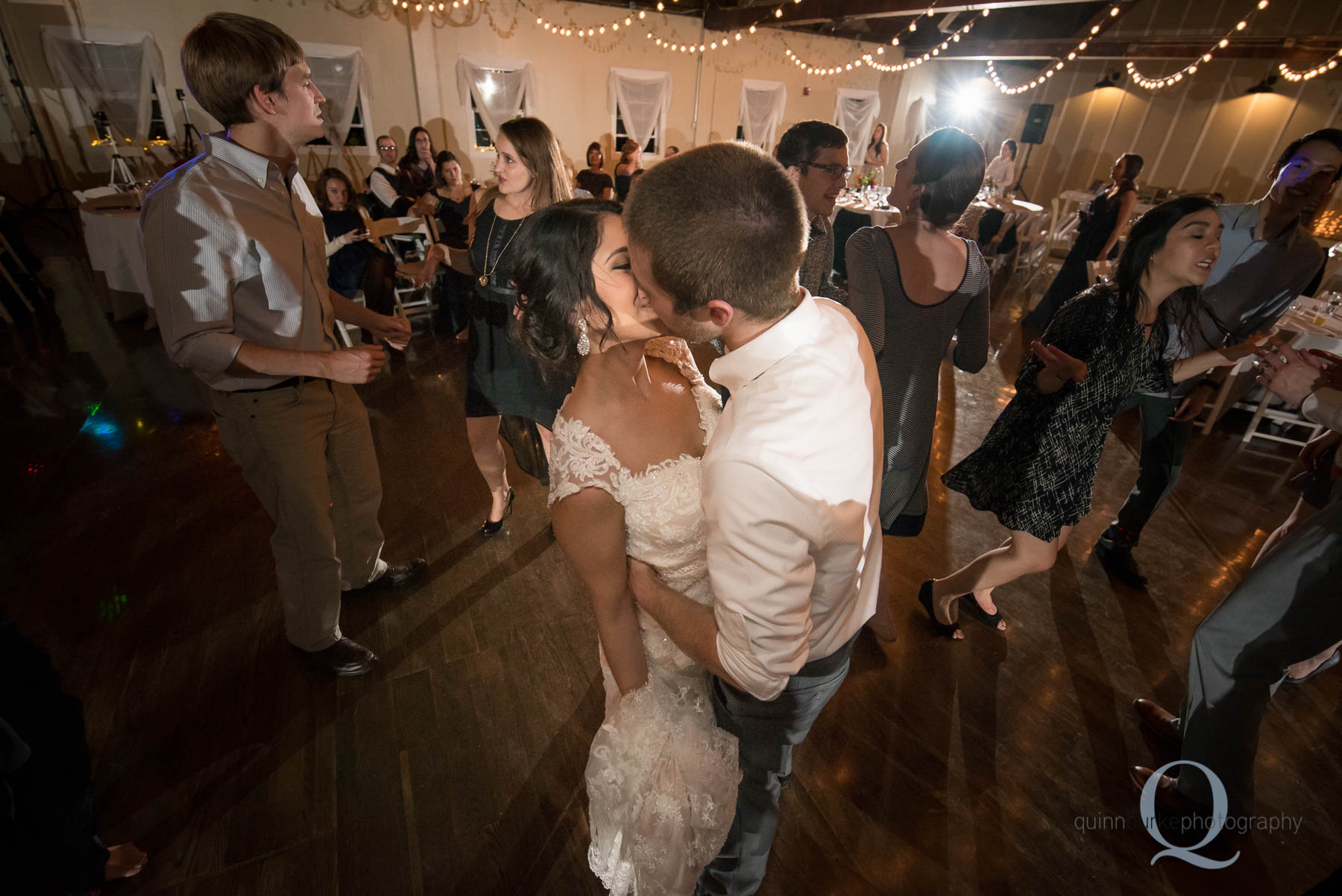 bride and groom kiss dancing reception at Green Villa Barn Salem Oregon