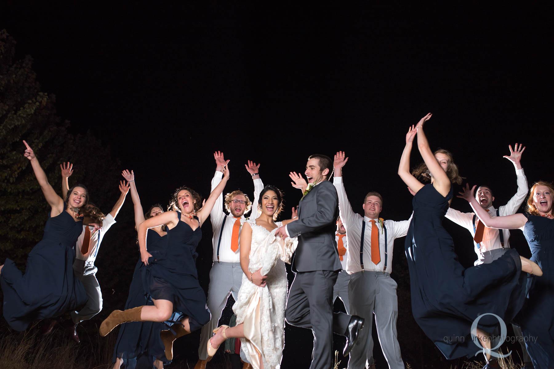 wedding party jumping Green Villa Barn Salem Oregon