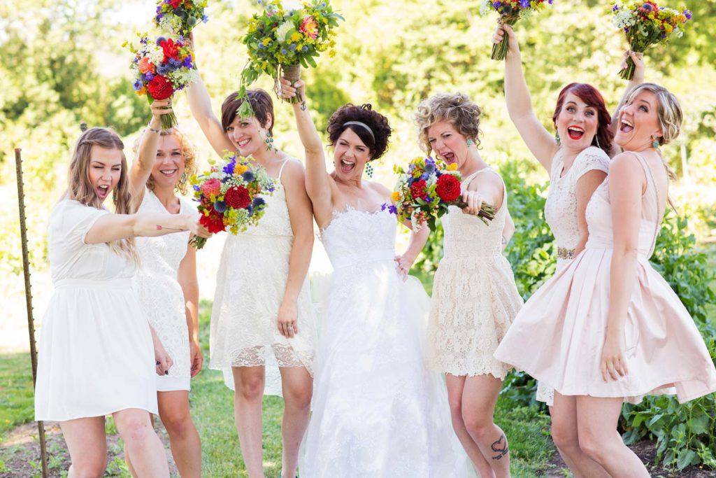 bride and bridesmaids flowers garden portrait green villa barn wedding salem oregon