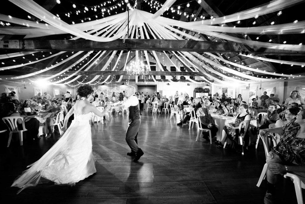 bride and father daughter dance black and white green villa barn wedding reception salem oregon