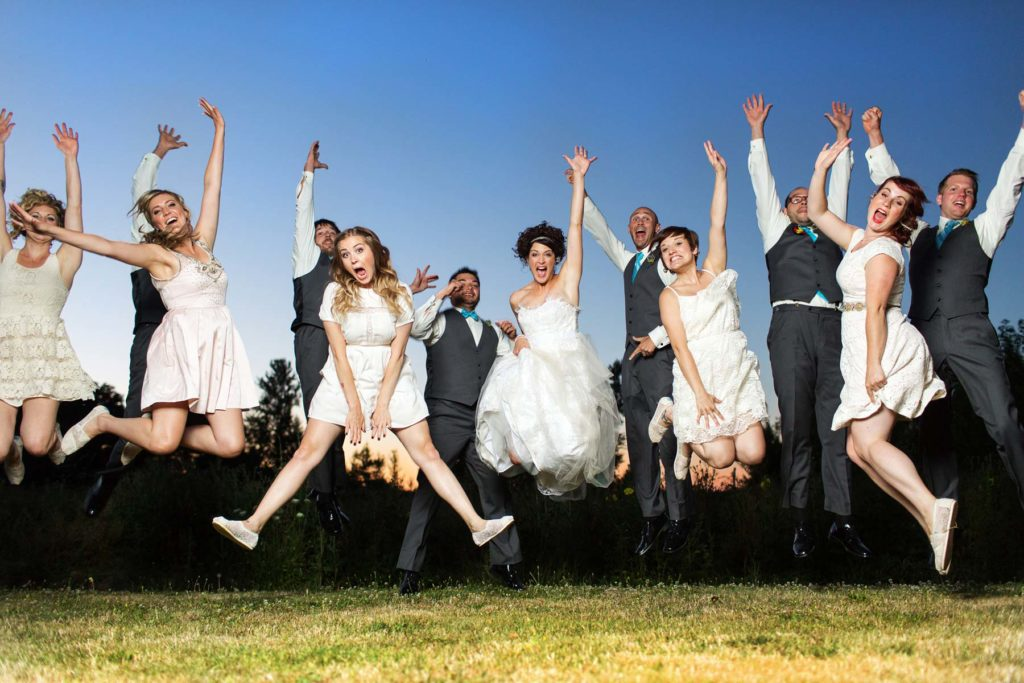 wedding party jumping sunset green villa barn wedding salem oregon