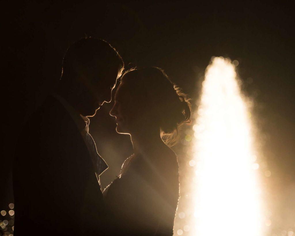 bride groom silhouette golden fountain zenith vineyard wedding salem oregon