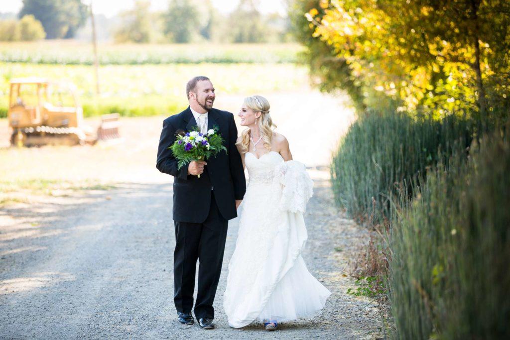 bride groom walking laughing heiser farms wedding dayton salem oregon