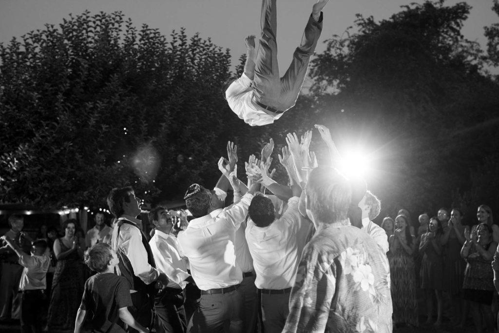 wedding reception throwing groom in air salem oregon