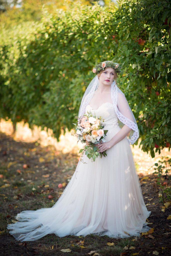 bride portrait in apple orchard perryhill farm wedding salem dallas oregon