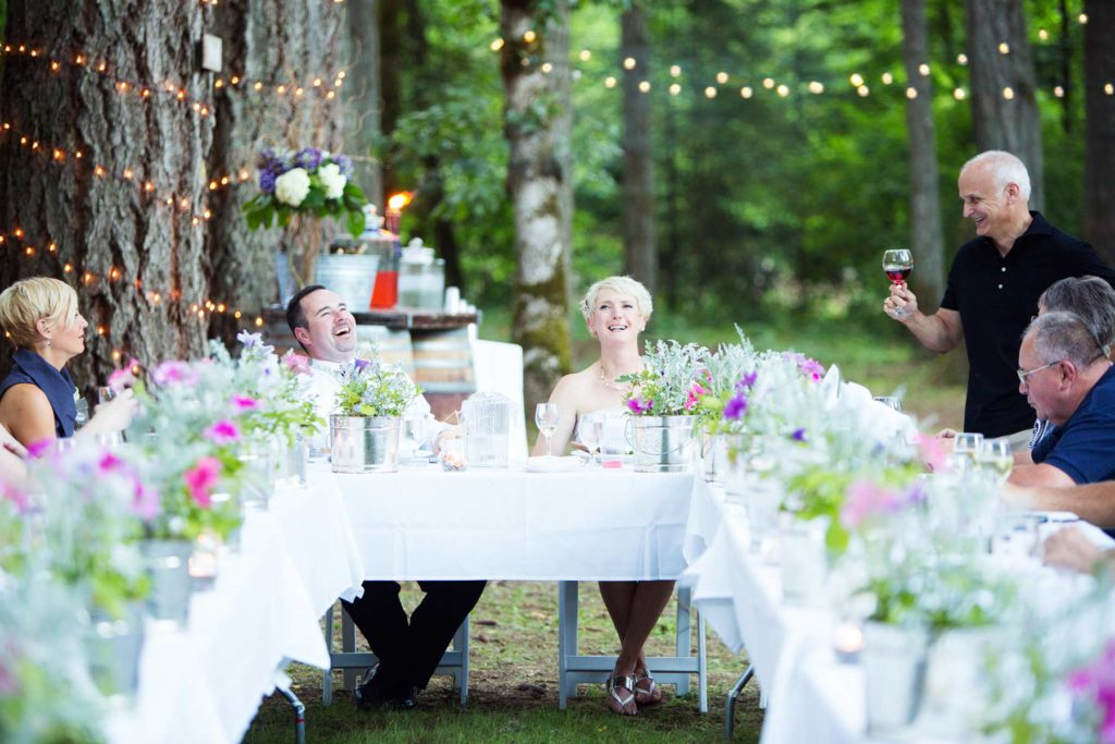 wedding reception toast with wine outdoors salem oregon wedding