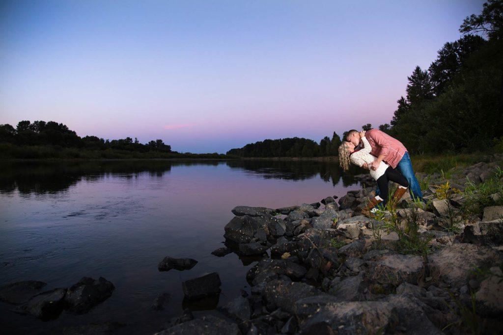engagement portrait sunset minto brown park dip kiss