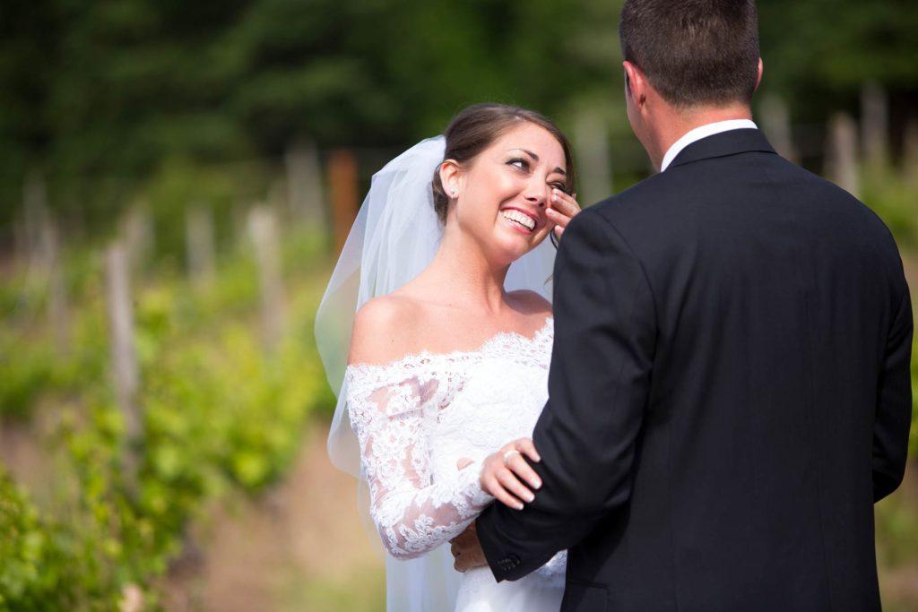 bride groom first look winery wedding silvan ridge salem oregon photographer